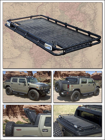 Gobi sut bed rack with welded in expanded metal deck hummer parts club for Hummer h3 interior accessories