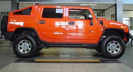 2005-2010 Hummer H2 SUT Rear Hard Slant Back Bed Cover: Hummer Parts